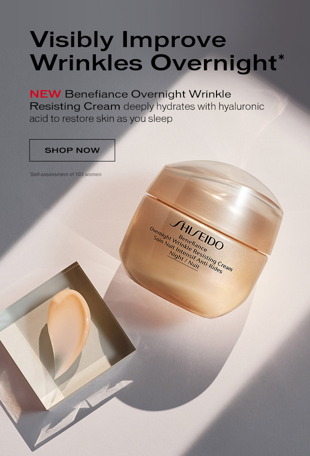 NEW Benefiance Overnight Wrinkle Resisting Cream deeply hydrates with hyaluronic acid to restore skin as you sleep. Shop Now.